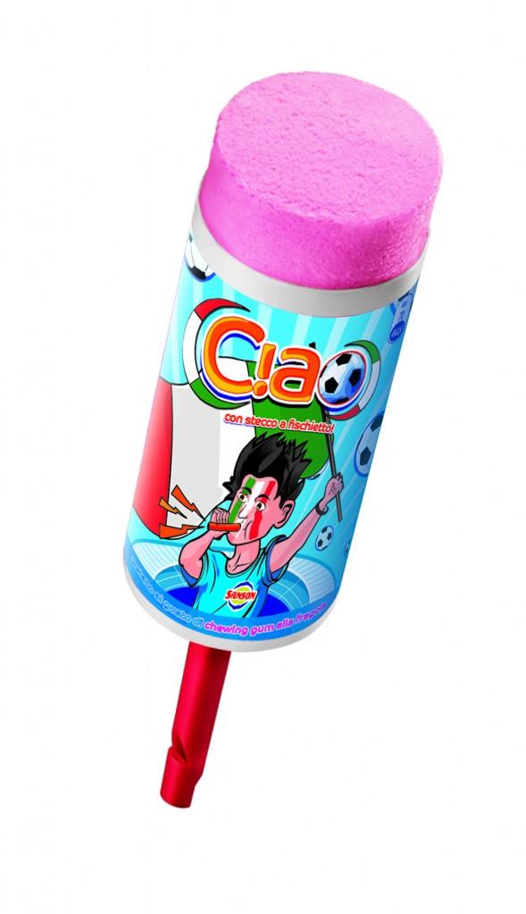 Per gustare a pieno ogni minuto di questa attesa, Sanson propone il nuovo  Ciao lo stecco gelato al gusto chewing,gum alla fragola che regala un  pieno di